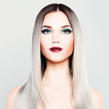 Stylish Woman Fashion Model. Makeup and Gradient Coloring Hair. Stylish Woman Fashion Model with Makeup and Gradient Coloring Hairstyle. Platinum Blonde Silky Royalty Free Stock Photos