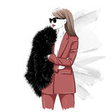 Stylish woman in fur and glasses. Illustration Royalty Free Stock Photography