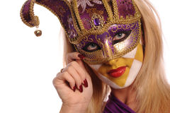 Stylish woman in the half mask Royalty Free Stock Photography