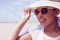 Stylish woman in hat and sunglasses Royalty Free Stock Photos