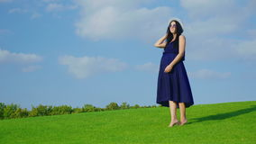 A stylish woman in a hat and sunglasses waiting for a child. Standing on a green meadow against a blue sky background stock video