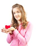 Stylish Woman with heart Royalty Free Stock Photography