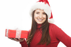 Stylish woman holding a red Christmas gift Stock Images