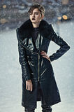 Stylish woman in leather coat Royalty Free Stock Photography