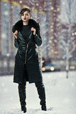 Stylish woman in leather coat Stock Image