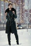 Stylish woman in leather coat Stock Image