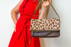 Stylish woman with leather handbag royalty free stock images