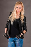Stylish woman in a leather jacket Stock Photography