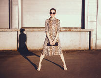 Stylish woman in a leopard dress, glasses and bag in the ghetto royalty free stock photography