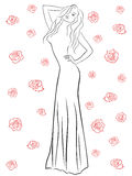 Stylish woman in a long gown among roses. Stylish black contour of a beautiful woman in a long gown among red roses isolated on a white background, vector Royalty Free Stock Photography