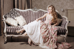 Stylish woman in a luxurious interior Royalty Free Stock Images