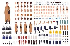 Stylish woman of middle ages constructor or DIY kit. Collection of female cartoon character body parts, facial. Expressions, clothing and accessories isolated royalty free illustration