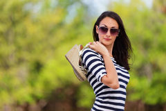 Stylish woman in nature Royalty Free Stock Photography