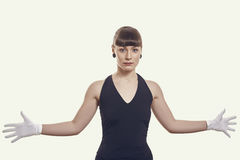 Stylish Woman with Open Arms Royalty Free Stock Photo
