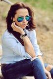Stylish woman outdoor fashion portrait Stock Photography
