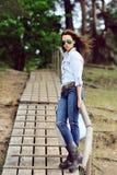 Stylish woman outdoor fashion portrait Royalty Free Stock Photo