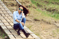 Stylish woman outdoor fashion portrait Royalty Free Stock Images