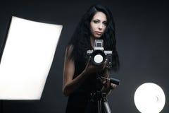 Stylish woman photographer Stock Photos