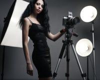 Stylish woman photographer Royalty Free Stock Photos