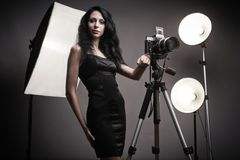 Stylish woman photographer Royalty Free Stock Photo