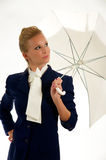 Pretty Woman w/ Umbrella. Stylish Woman in a pose with umbrella Stock Images
