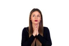 Stylish woman praying Royalty Free Stock Image