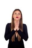 Stylish woman praying Royalty Free Stock Photos