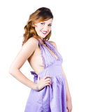 Stylish woman in purple dress Royalty Free Stock Image