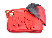 Stylish woman red bag, gloves and a scarf Stock Photography