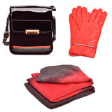 Stylish woman red bag, gloves and a scarf Royalty Free Stock Photos