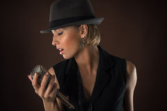 Stylish woman with retro microphone Royalty Free Stock Photo