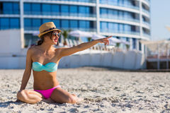 Stylish woman by the sea Royalty Free Stock Photo