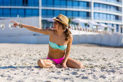 Stylish woman by the sea Stock Photos