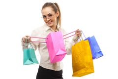 Stylish woman with shopping bag Stock Photography