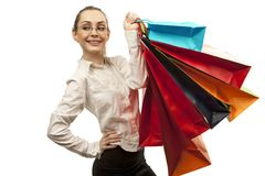 Stylish woman with shopping bag Royalty Free Stock Image