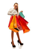 Stylish woman with shopping bag Royalty Free Stock Photos