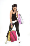 Stylish woman with shopping bags Royalty Free Stock Photo