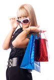 Stylish woman with shopping bags Royalty Free Stock Photos