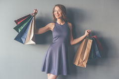Stylish woman with shopping bags Stock Images