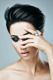 Stylish woman with short hair Stock Images