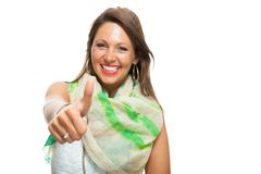 Stylish Woman in Showing Two Thumbs up Signs Stock Photo