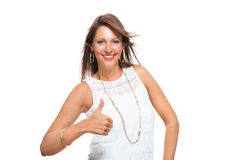 Stylish Woman in Showing Two Thumbs up Signs Royalty Free Stock Images