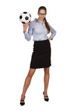 Stylish woman with a soccer Ball Stock Photography