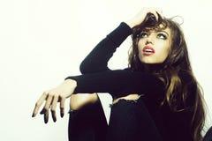 Stylish woman in studio stock photo