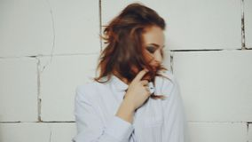 Stylish woman in studio stock video