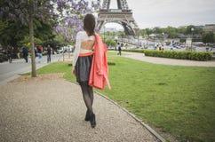 Stylish woman tourist near the Eifel tower Stock Photography