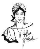 Stylish woman with turban illustration Stock Image