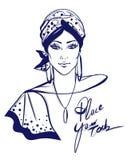 Stylish woman with turban illustration Stock Photos