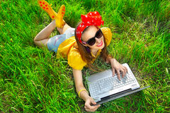 Stylish woman using laptops Royalty Free Stock Images
