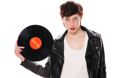 Stylish woman with a vinyl record Royalty Free Stock Images